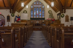 Central Baptist Sanctuary decorated for Christmas